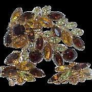 REDUCED Vintage Autumn Colored Rhinestone Brooch Earring Set - Demi Parure