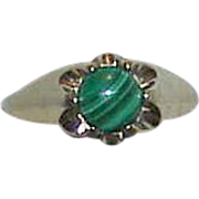 REDUCED Gents 14K HGE Gold Plated Malachite Ring