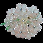 SALE Lucite Pink Plastic, Rhinestone Enamel Flower Brooch