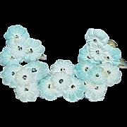 Early Plastic Flower Brooch, Earrings