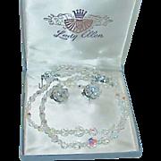 REDUCED Vintage LADY ELLEN Aurora Borealis Crystal Necklace Earring Set in Original Box