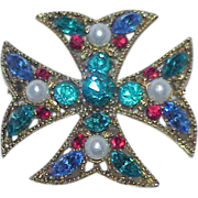 REDUCED Rhinestone and Glass Pearl Maltese Cross Brooch/Pendant