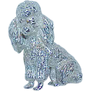 REDUCED Designer TRIFARI Silvertone Metal Poodle Brooch