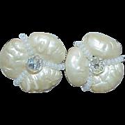 Lucite Molded Flower Crystal Bead Earrings