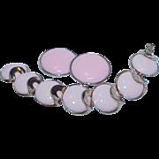 SALE Vintage CROWN TRIFARI Pink Enamel Bracelet and Earrings