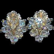 REDUCED Vintage LAGUNA Crystal Rhinestone Leaf Earrings