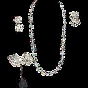 SALE Aurora Borealis Crystal Glass Bead Necklace 3 Pair Earrings