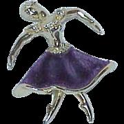 REDUCED Velvet Tutu Ballerina Brooch with Rhinestones