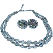 REDUCED Lavender Gray Aurora Borealis Crystal Bead Necklace Earrings