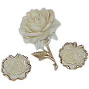 REDUCED White Celluloid Rose Brooch with Earrings
