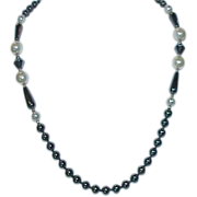 SALE Hematite and Glass Pearl Necklace