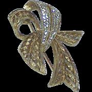 SALE Vintage HATTIE CARNEGIE Rhinestone Ribbon Brooch