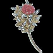 SALE Vintage NETTIE ROSENSTEIN Celluloid Rose Rhinestone Brooch