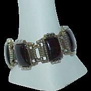 SALE Black Molded Lucite Silvertone Estate Bracelet