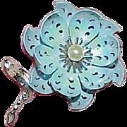 REDUCED Vintage CORO Enamel on Metal Flower Brooch