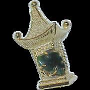 REDUCED Vintage BSK Jadeite Jade Asian Pagoda  Brooch