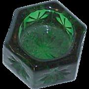 SALE Hexagon Green Glass Salt Cellar