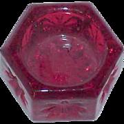 SALE Hexagon Red Glass Salt Cellar