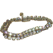 REDUCED Vintage WEISS Aurora Borealis Two Row Rhinestone Bracelet
