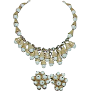 REDUCED Vintage WEST GERMANY Signed White and Tan Acorn Necklace and Earrings Set - Demi Parur