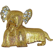 Rhinestone Skye Terrier Dog Brooch