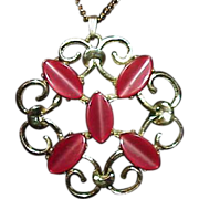 REDUCED Vintage Red Thermoset Medallion Pendant on Chain