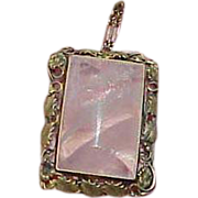 SALE Art Deco Sterling Pink Rose Quartz Pendant Necklace
