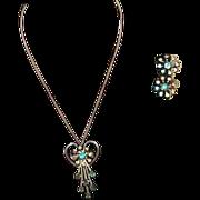 REDUCED Vintage B&N Blue Rhinestone Pendant/Brooch and Earring Set
