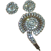 REDUCED Sterling Crystal Rhinestone Brooch/Pendant and Earring Set