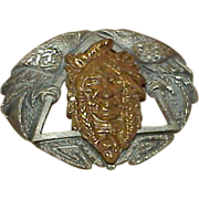 REDUCED Vintage EGC Brass and Pewter Indian Head Buckle