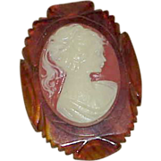 REDUCED Vintage Art Deco Celluloid Tortoise Shell Cameo Brooch