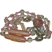 Vintage Confetti Lucite Pink Bead necklace