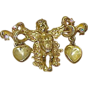 REDUCED Vintage Kirk's Folly Cupid with Hearts Brooch