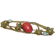 REDUCED Art Nouveau Brass Carnelian Moon Glow Bar Collar Brooch