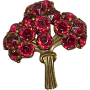 Vintage Cherry Red Rhinestone Posy Brooch