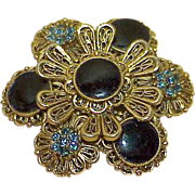 Vintage AVANTE Green Rhinestone Black Enamel Brooch