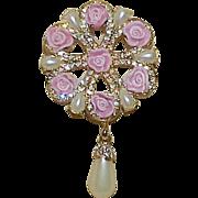 Vintage N R Porcelain Pink Rose Rhinestone Faux Pearl Brooch