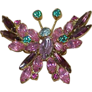 SALE Delizza and Elster Rhinestone Butterfly Brooch