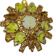 REDUCED Vintage Delizza and Elster Golden Yellow Rhinestones Art Glass Brooch