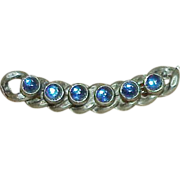 Vintage Art Deco EDWARD STEMPA NYC Molded Art Glass Collar Bar Brooch