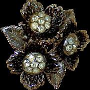 Vintage Flower Rhinestone Japanning Brooch