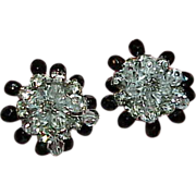 Vintage Black and Clear Crystal Bead Trembler Rhinestone Earrings