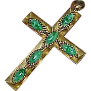 REDUCED Vintage Gold Tone Metal Cross with Green Mottled Art Glass Stones Pendant