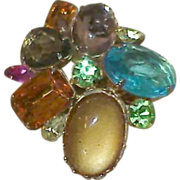 Vintage DELIZZA and ELSTER Multi Colored Multi Shaped Stone Brooch