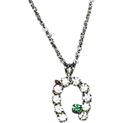 Vintage Rhinestone Horseshoe Pendant on Chain