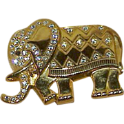REDUCED Vintage Repousse Style Golden Elephant with Crystal Rhinestones Brooch