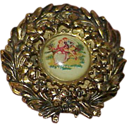 REDUCED Vintage CORO Porcelain Fragonard Cameo Brooch
