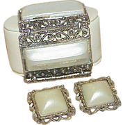 REDUCED Vintage Chunky Clunky Pearlized Lucite Bracelet and Earring Set - Demi Parure
