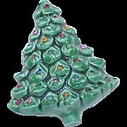 Vintage Marked HOLLAND Ceramic Rhinestone Christmas Tree Brooch