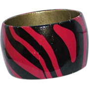 Vintage Black and Red Zebra Striped Wide Bangle